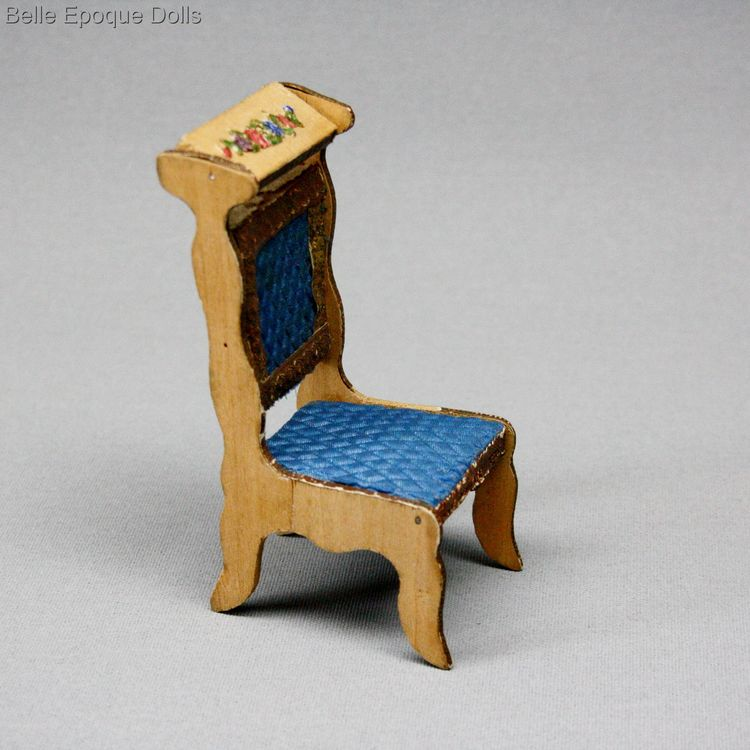 Antique Dollhouse miniature prie dieu chair , Puppenstuben zubehor