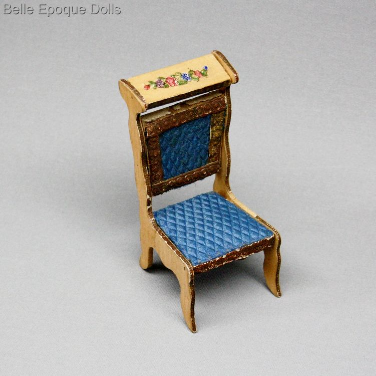Antique dolls house furniture wooden prie dieu Badeuille , Puppenstuben zubehor