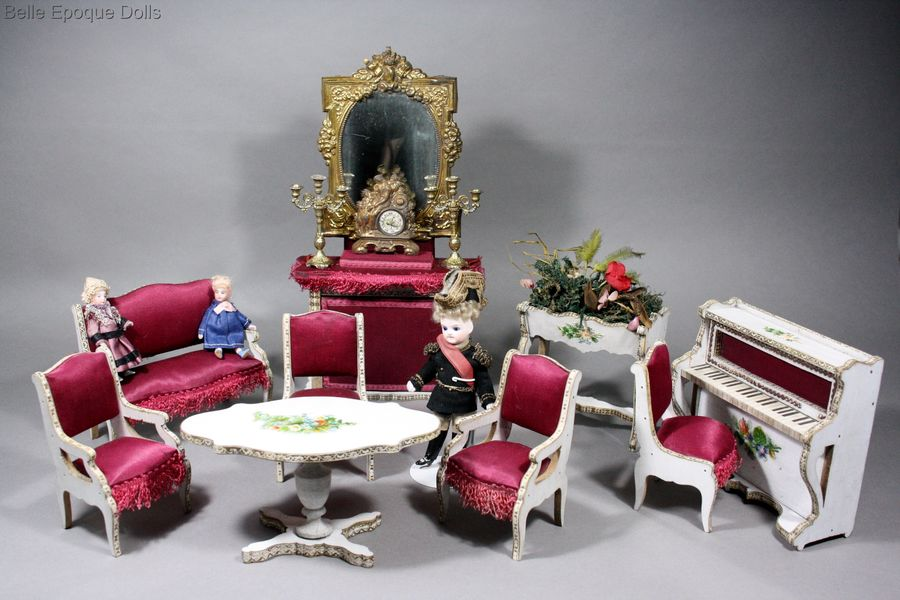 Antique dolls house French Salon furniture  , Puppenstuben zubehor
