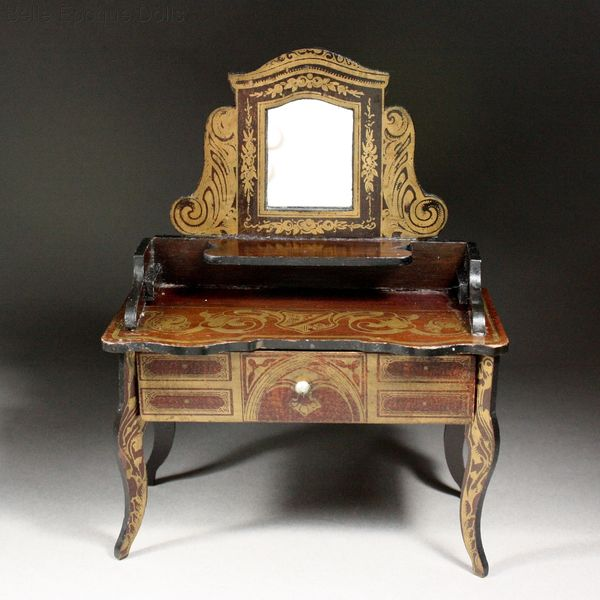 Puppenstuben zubehor , Antique Dollhouse miniature , Antique Dollhouse Dressing Table in Boulle style Wagner & Sohne