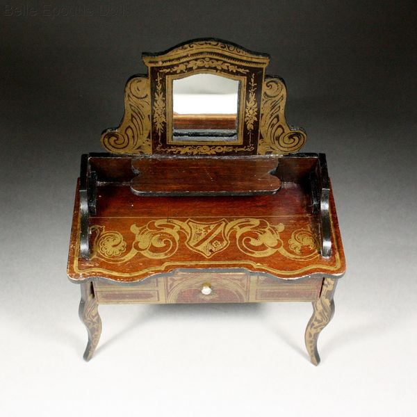Puppenstuben zubehor , Boulle style miniature , Antique Dollhouse Dressing Table in Boulle style Wagner & Sohne