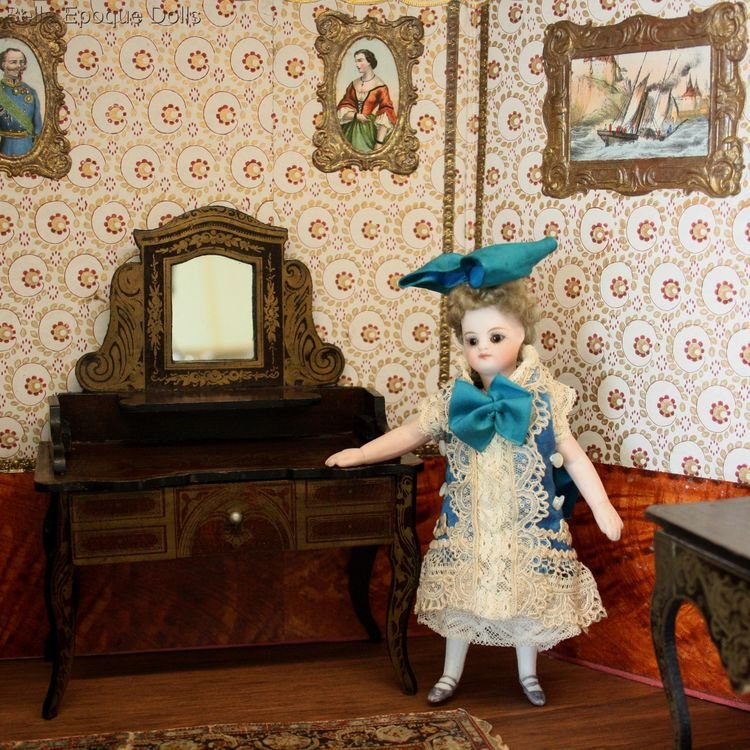 Biedermeier dollhouse furniture , Antique dolls house furniture  , Antique Dollhouse Dressing Table in Boulle style Wagner & Sohne