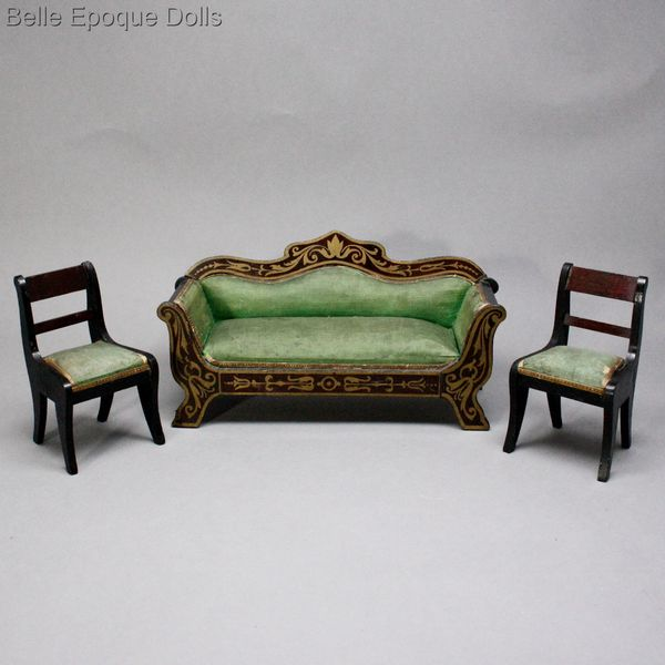 Biedermeier dollhouse furniture , Antique Dollhouse miniature furniture , Puppenstuben zubehor