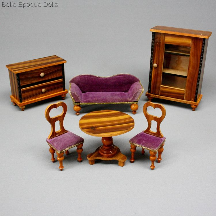 Antique Dollhouse miniature , faux grained antique furniture