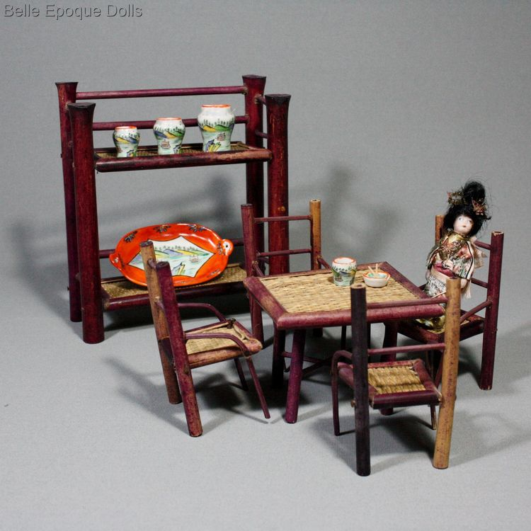 Japanese Vignette With All Bisque Tiny Japanese Doll And Accessories