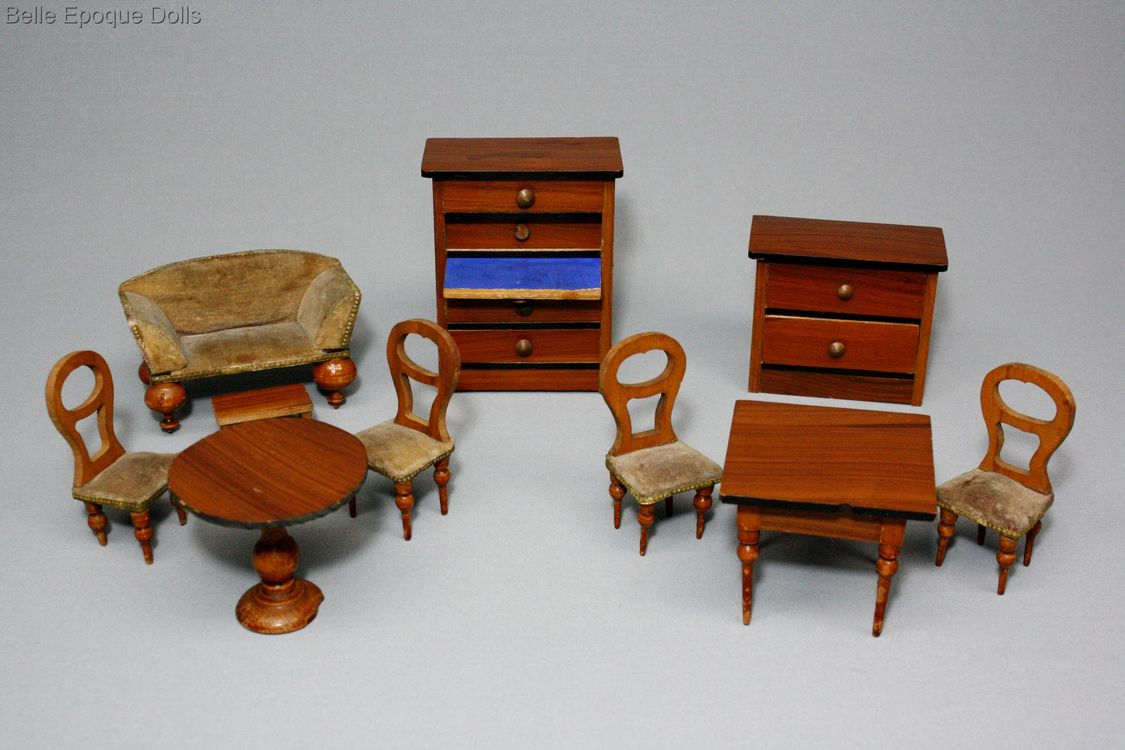 Antique dolls house furniture german , Puppenstuben zubehor