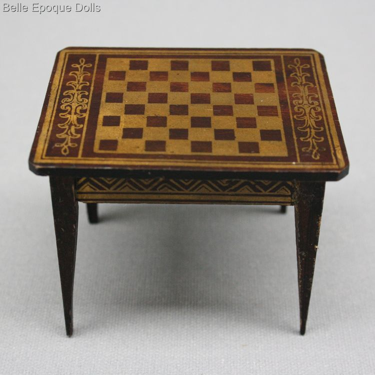 Antique Dollhouse miniature game table , Puppenstuben zubehor