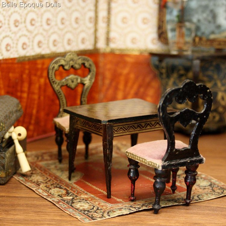 Antique dolls house furniture biedermeier gaming table , Puppenstuben zubehor