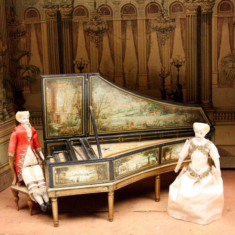 Antique dolls house piano , Puppenstuben zubehor Cembalo