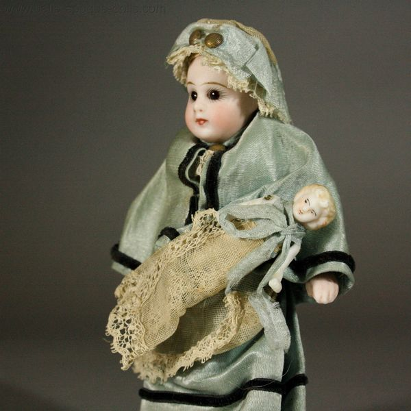 miniature antique all bisque doll , Francois gaultier tiny doll