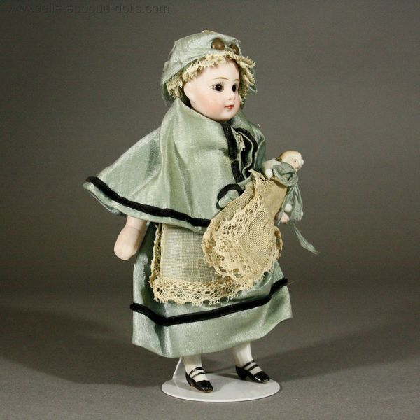 solid domed all bisque doll , Francois gaultier tiny doll