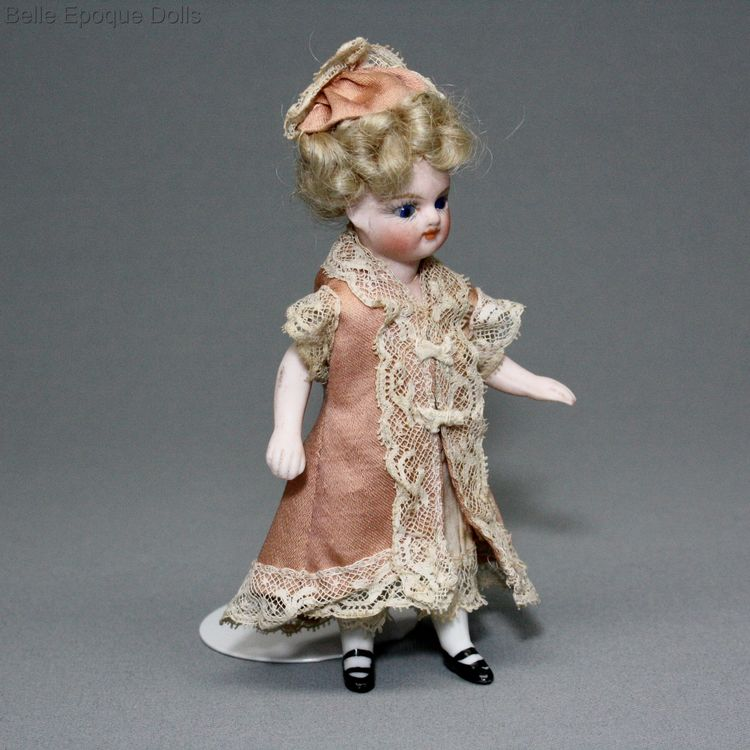 all-bisque mignonette , Antique dolls house all-bisque doll , Antique Dollhouse miniature doll