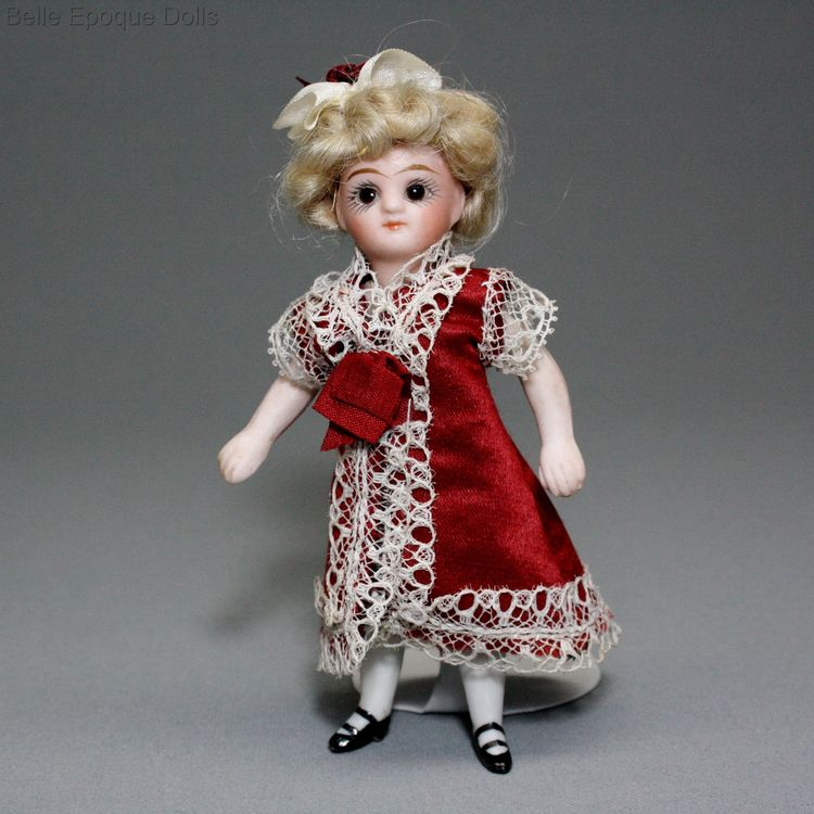 Antique Dollhouse miniature doll  , all bisque mignonette