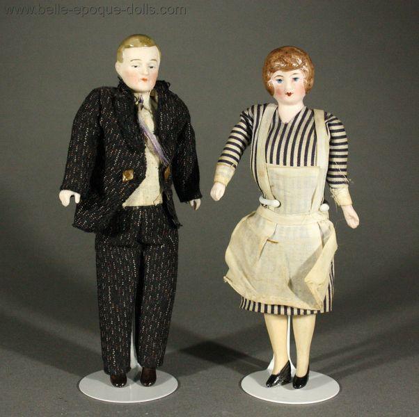 Antique Miniature Dolls / Pair of German Bisque Dollhouse ...