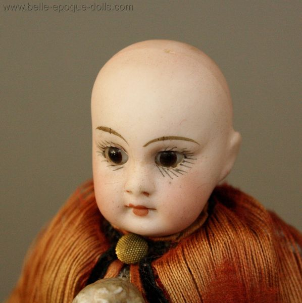 Antique Dollhouse governess nursemaid , Antique all bisque doll mignonette