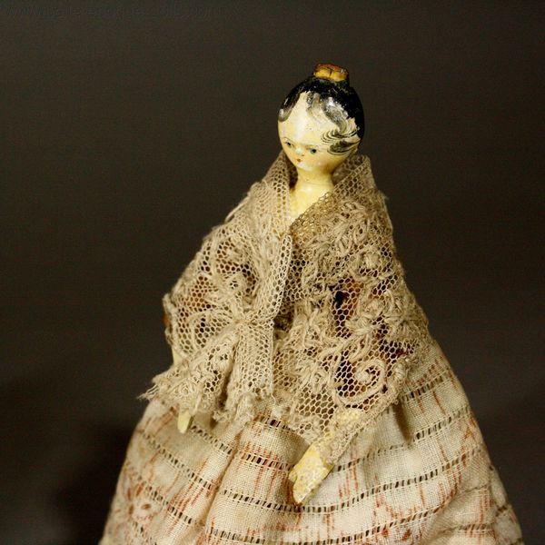 Antique Miniature Dolls Pair Of Grodnertal Wooden Dolls Ref P379