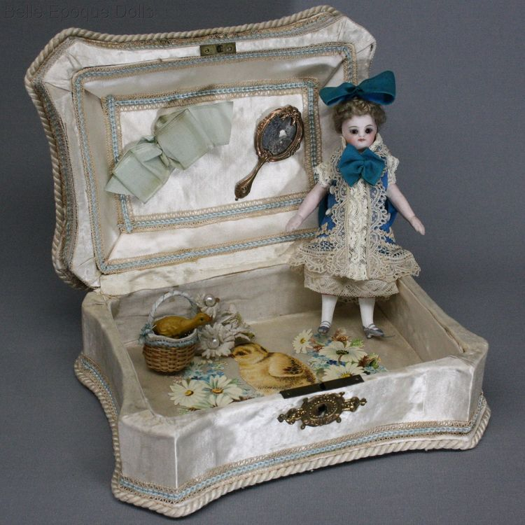 Antique all bisque dollhouse doll , Puppenstuben puppen